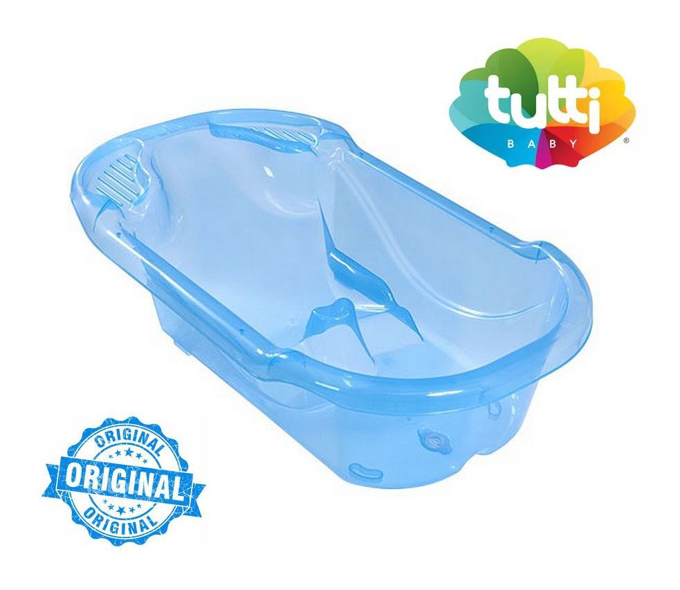 Banheira Bebê Azul Menino Ergonômica Transparente Safety e Comfort Tutti Baby