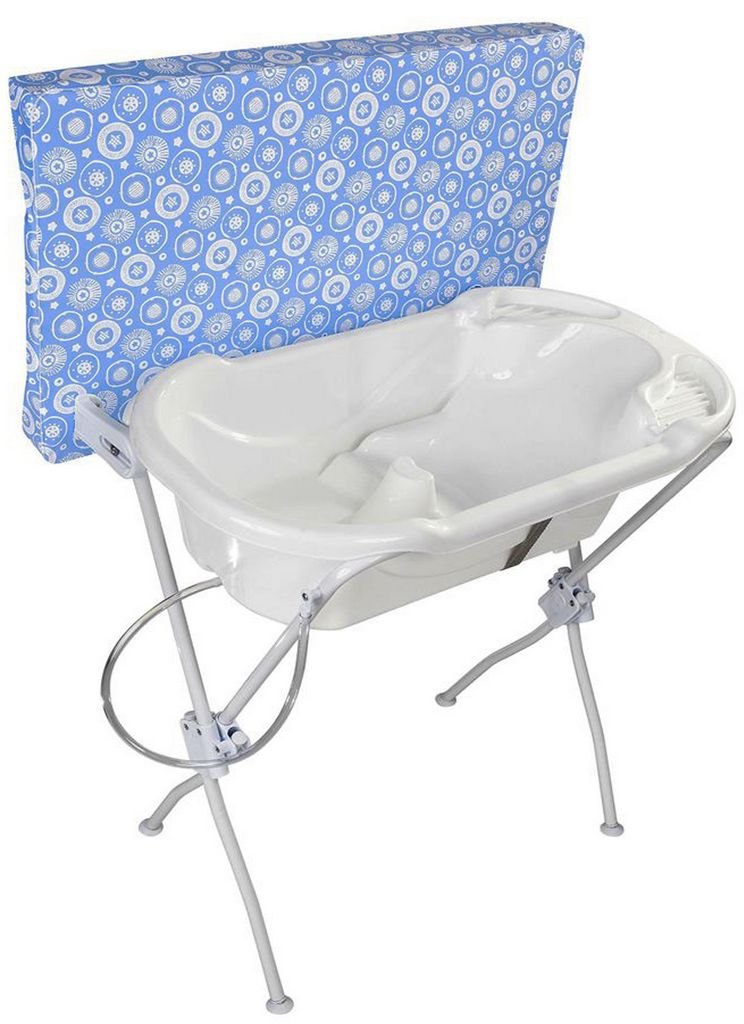 Banheira Para Bebê Com Trocador Infantil Azul Menino Formato Anatômico Alta Resistência Tutti Baby Original