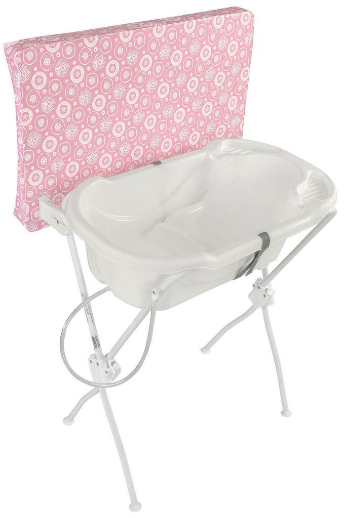 Banheira Para Bebê Com Trocador Infantil Rosa Essencial Menina Formato Anatômico Alta Resistência Tutti Baby Original
