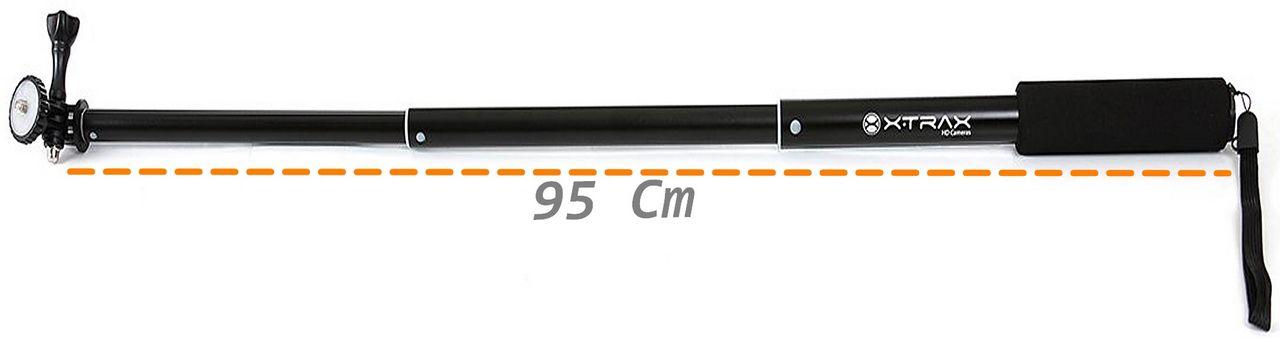 Bastão Retrátil Câmera Ação Preto 95 Cm Encaixe Padrão Resistente Àgua Suporta Até 500g Original Xtrax