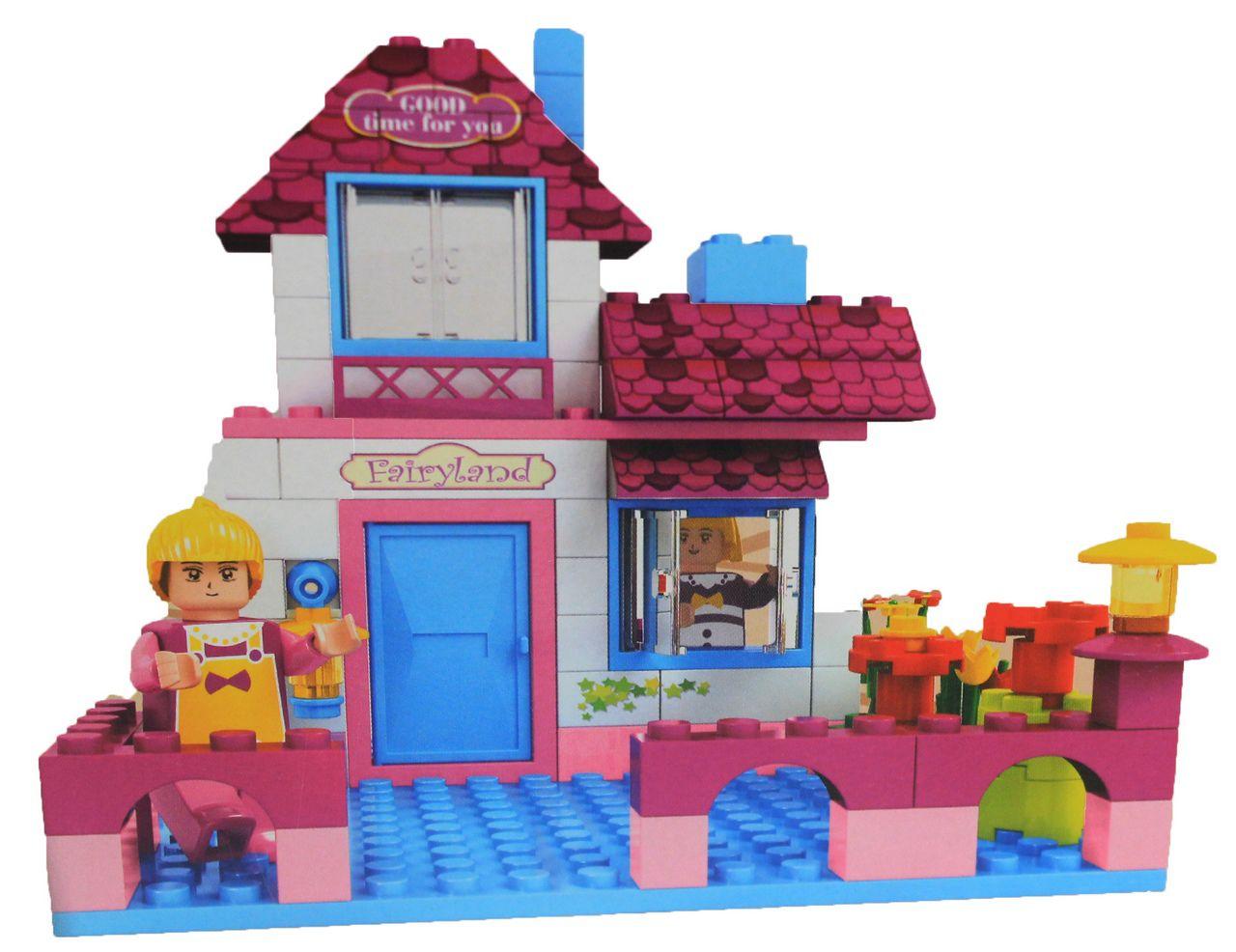Bloco De Montar Infantil 164 Peças Castelo Da Fantasia Princesa Menina Rosa Certificado Inmetro Nível Dificuldade Médio Original Vip Toys