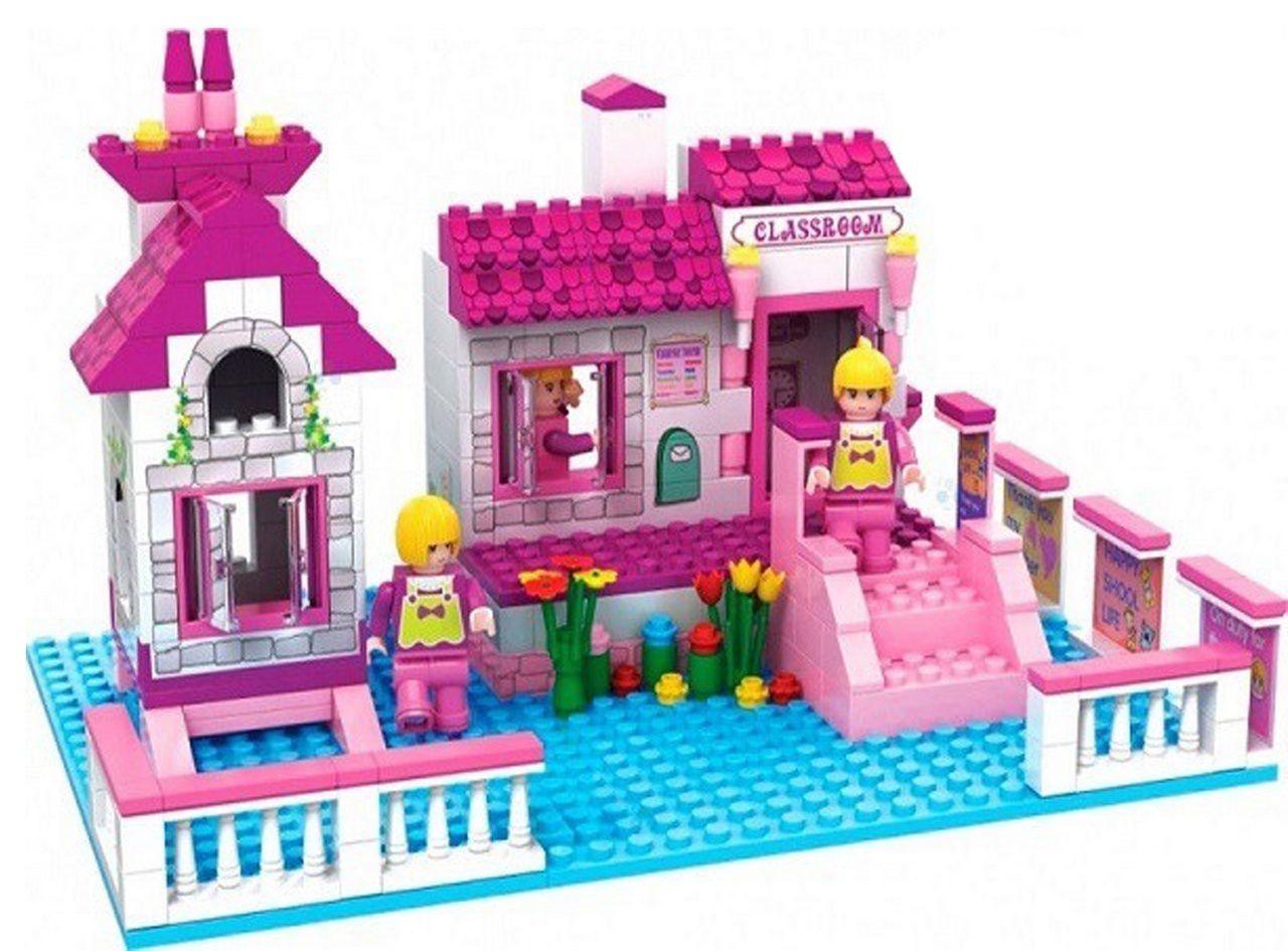 Bloco De Montar Infantil 248 Peças Castelo Da Fantasia Princesa Menina Rosa Certificado Inmetro Nível Dificuldade Médio Original Vip Toys