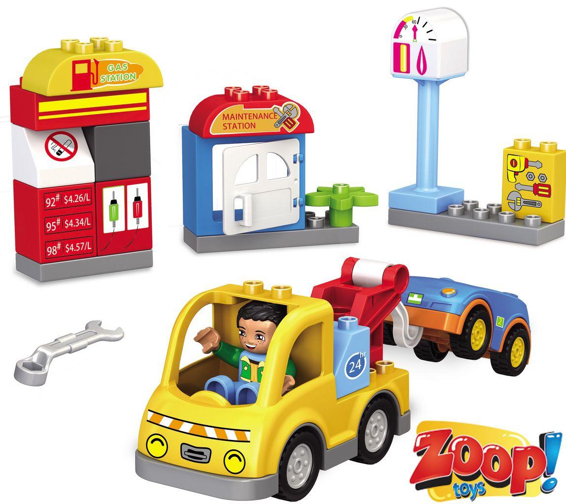 Bloco De Montar Infantil 29 Peças Posto De Gasolina Certificado Inmetro Modelo ZP00655 Original Zoop Toys