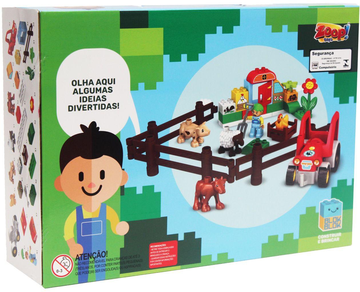 Bloco De Montar Infantil Menina Menino 35 Peças Um Dia Na Fazendinha Certificado Inmetro Modelo ZP00654 Original Zoop Toys