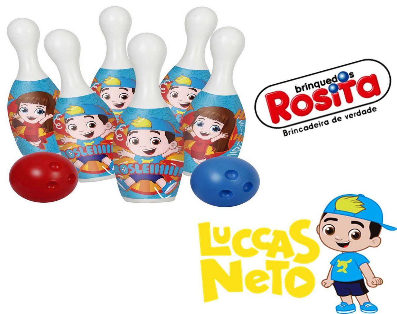 Boliche Do Luccas Neto Original Brinquedo Infantil 6 Pinos Desafio Decorado Menino Menina Lançamento Rosita