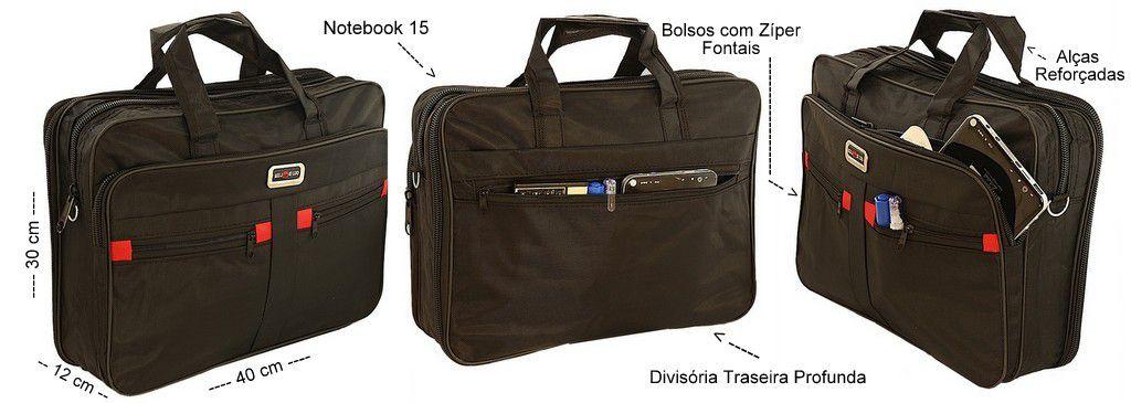 Bolsa Carteiro Social Notebook Preta Transversal Masculina Feminina