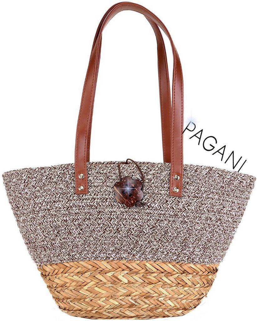 Bolsa De Praia Feminina Palha Chic Trançada Tote Bag Grande Casual Zíper Forrada Piscina Verão Lançamento Pagani Semax