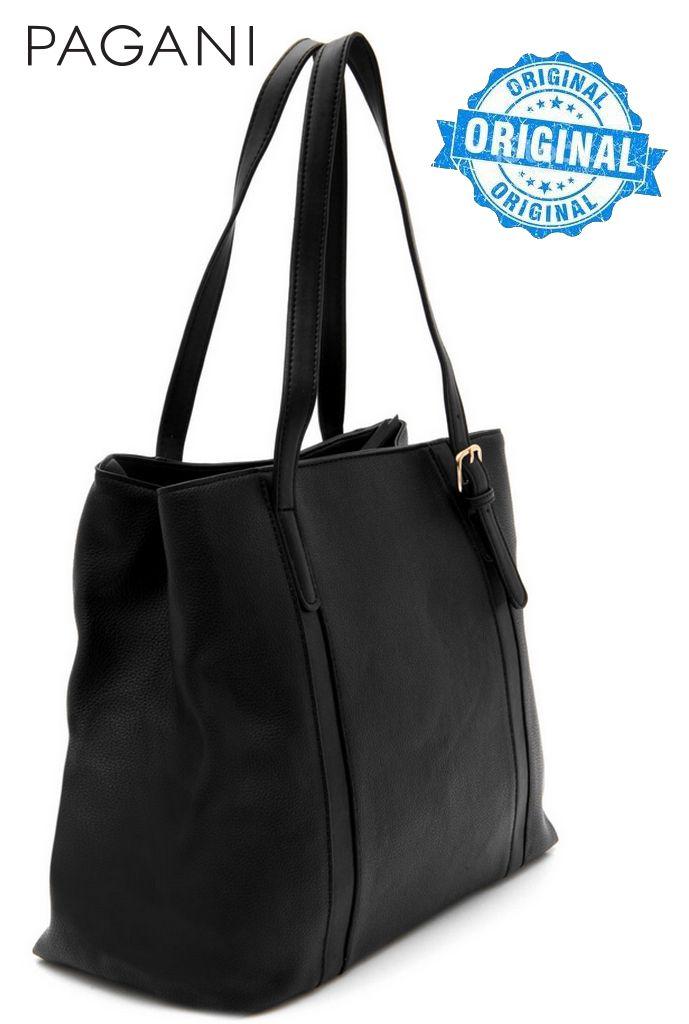 Bolsa Feminina Tote Bag Preto Resistente Alça Mão Original Pagani Semax PG3811