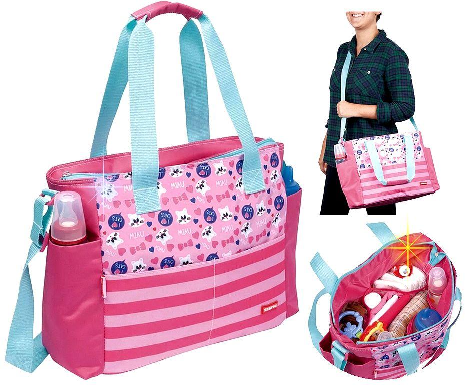 Bolsa Maternidade de Mão Menina Sestini Kids Cat Rosa Reforçada Mala Viagem