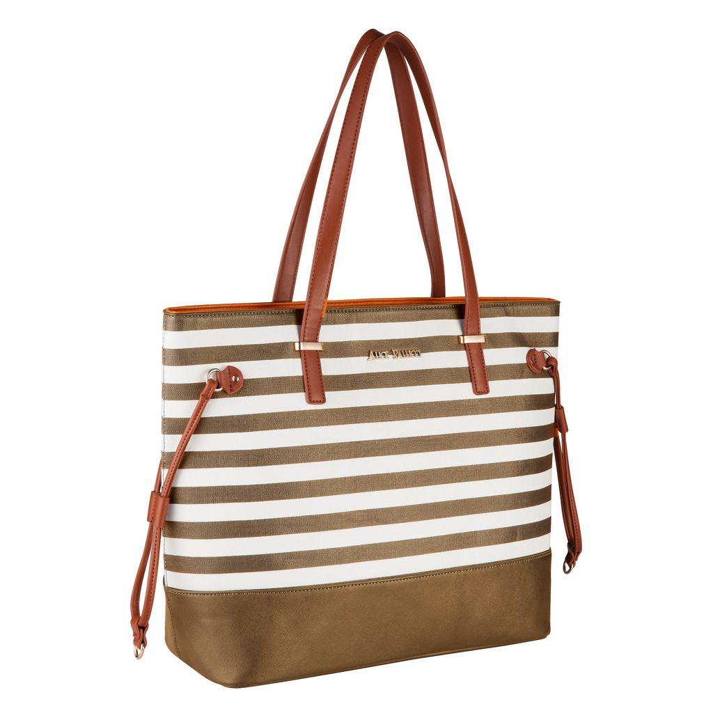 Bolsa Feminina Preta Tote Bag Alice Palucci Listrada Grande Alça Ombro Alta Qualidade AL1904
