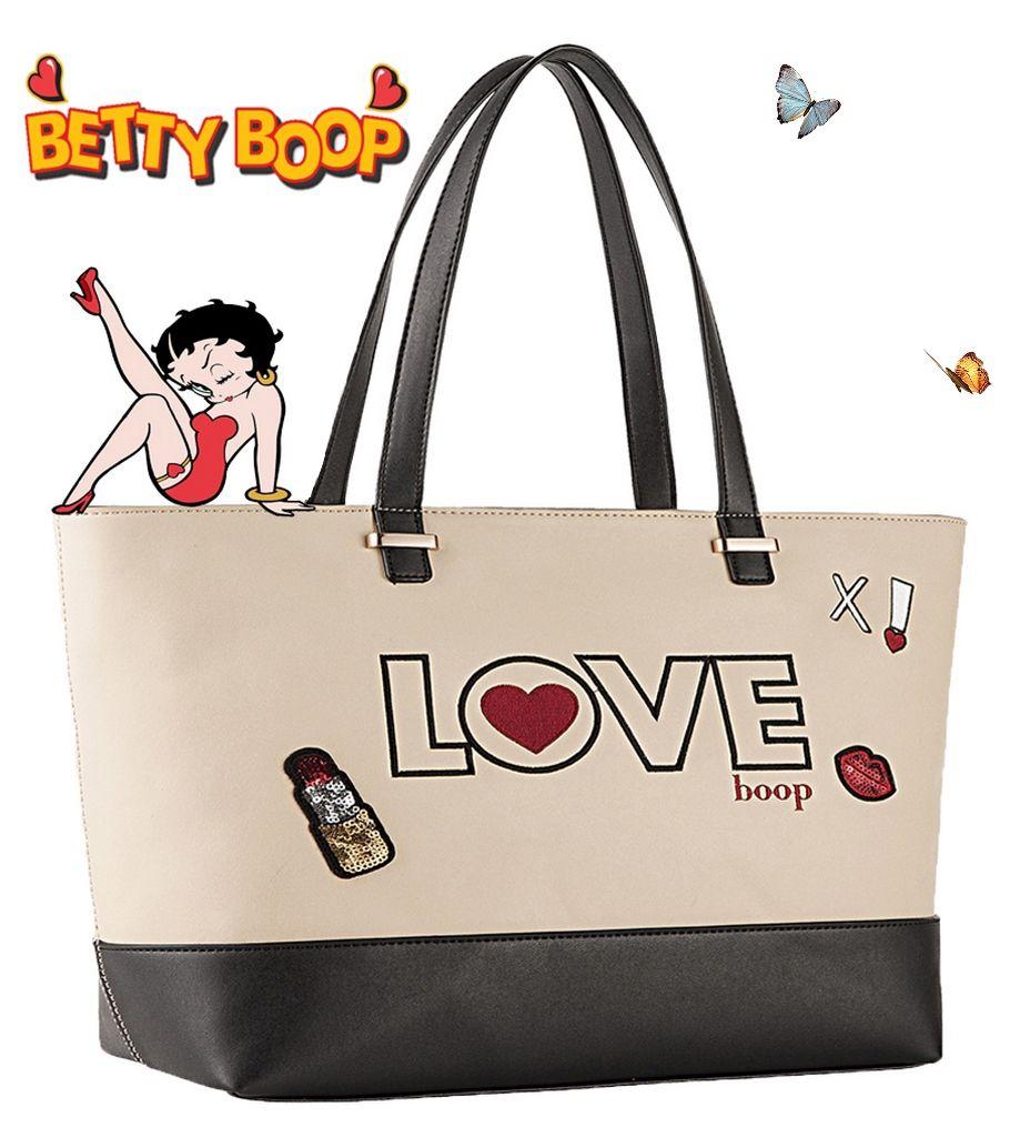 4eb294fe7 Bolsa Tote Bag Grande Bege Creme Love Betty Boop BP2902BG - Ditudotem ...