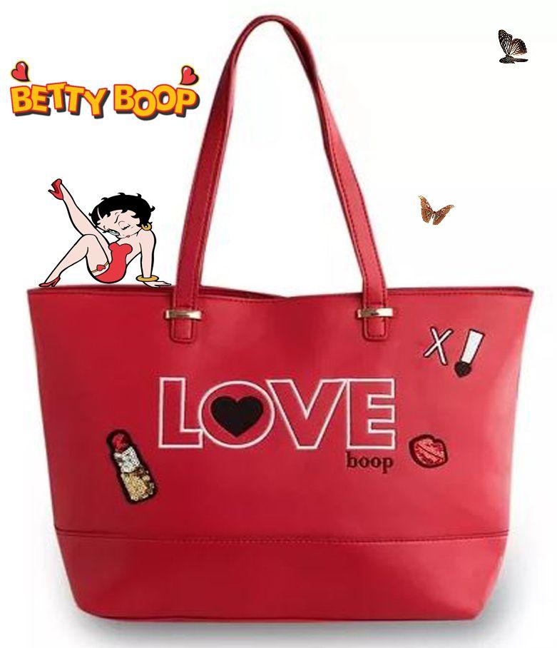 Bolsa Feminina Tote Bag Grande Vermelho Love Betty Boop Original Semax