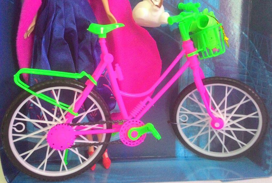Boneca Ana Desenho Frozen Ciclista Articulada Com Bicicleta