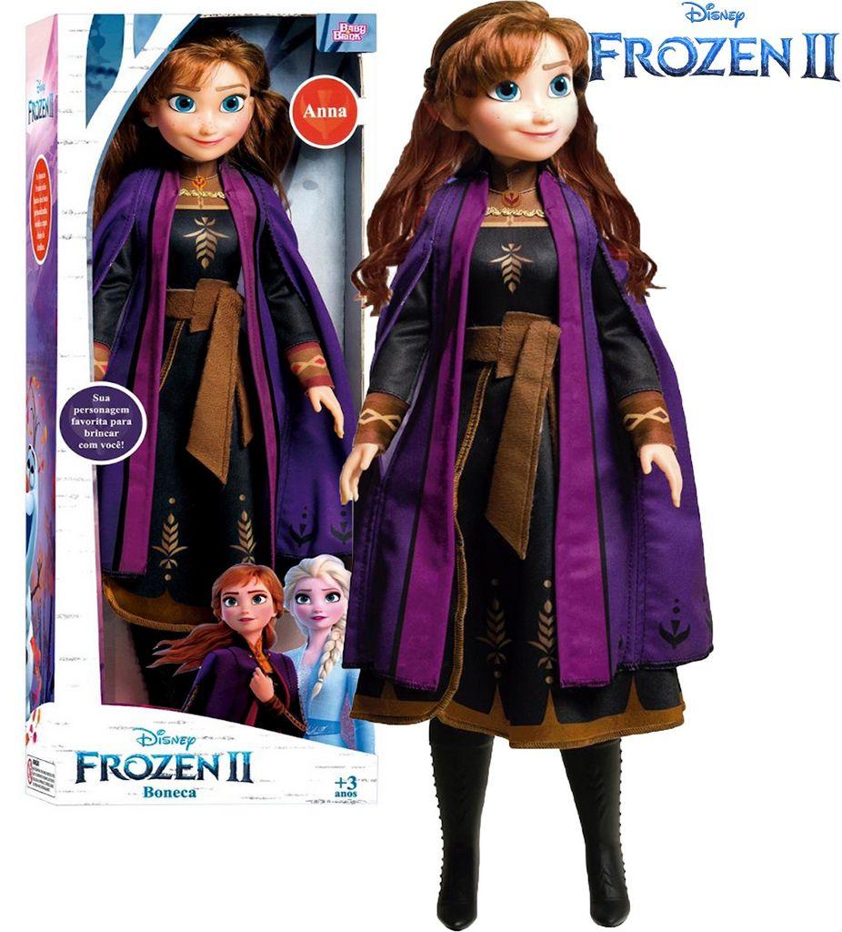Boneca Articulada Anna Frozen 2 Tamanho Grande Gigante 80 Cm Roupas Removíveis Macia Menina Divertida Lançamento Baby Brink Disney Maior 3 Anos Nova