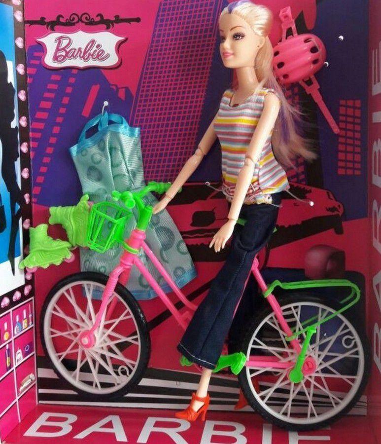 Boneca  Barbie Ciclista Articulada Com Patins Bicicleta