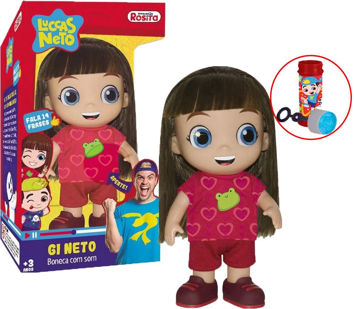 Boneca Gi Aventureira Luccas Neto Fala 14 Frases Original Lançamento Infantil Divertido Bolhas De Sabão Menina Articulado Youtuber Rosita