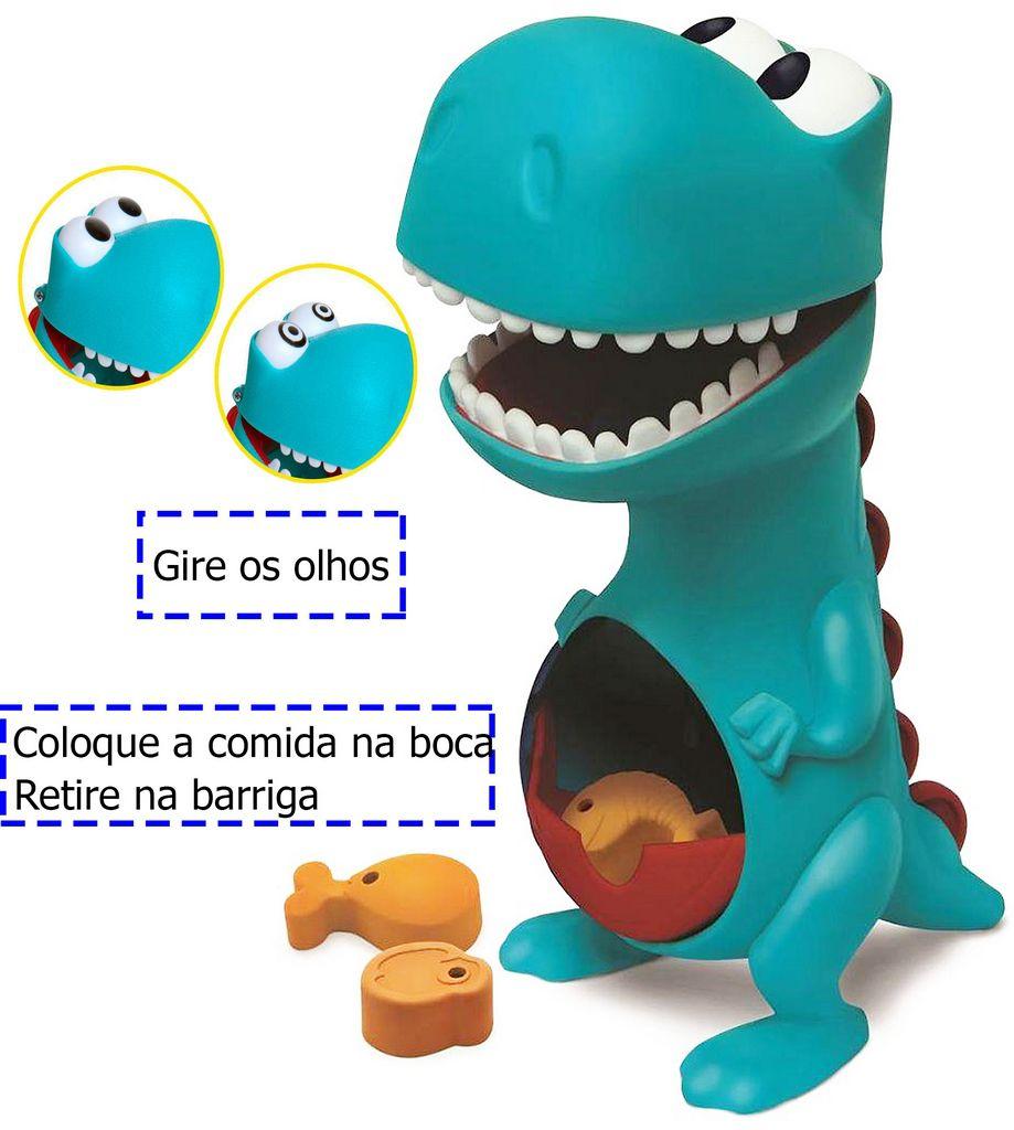 Boneco Dino Papa Tudo Menino Infantil Gira Olhos Azul Comidinha Boca Sai Na Barriga +12 Meses Nhac Original Elka