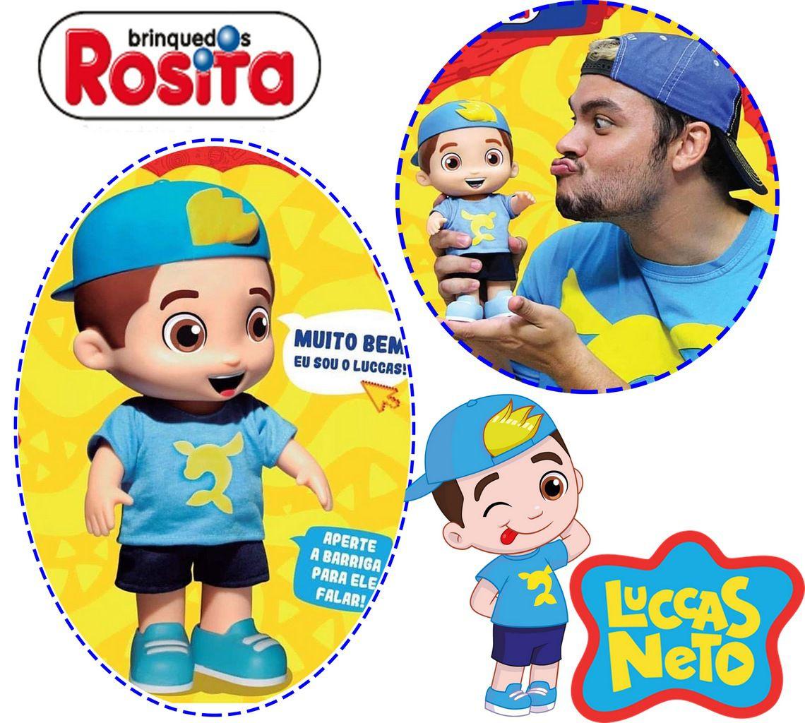 Boneco Luccas Neto Fala 14 Frases Original Lançamento Infantil Divertido Menino Articulado Youtuber Rosita