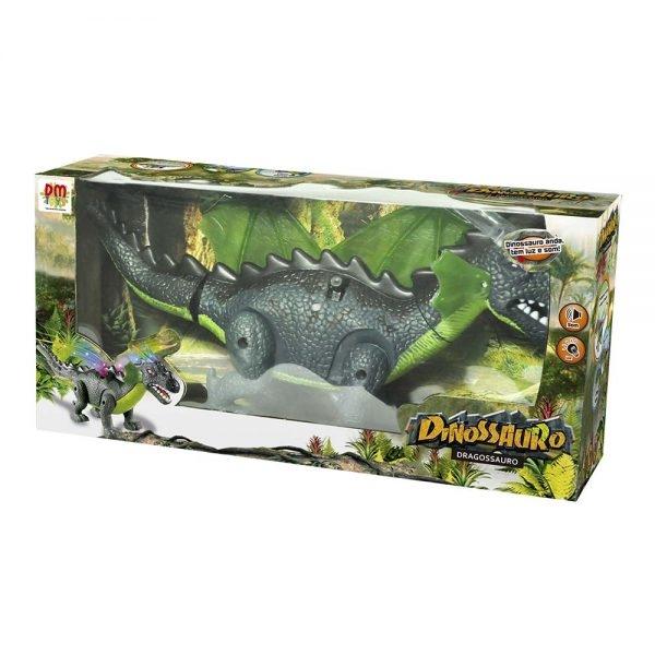 Brinquedo Dinossauro Com Asas Dragão Luz Som Anda Grande Verde Dm Toys