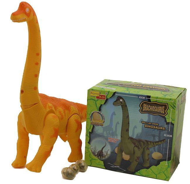 Brinquedo Infantil Dinossauro Amarelo Eletrônico Articulado com Luzes Som e põe Bota Ovos