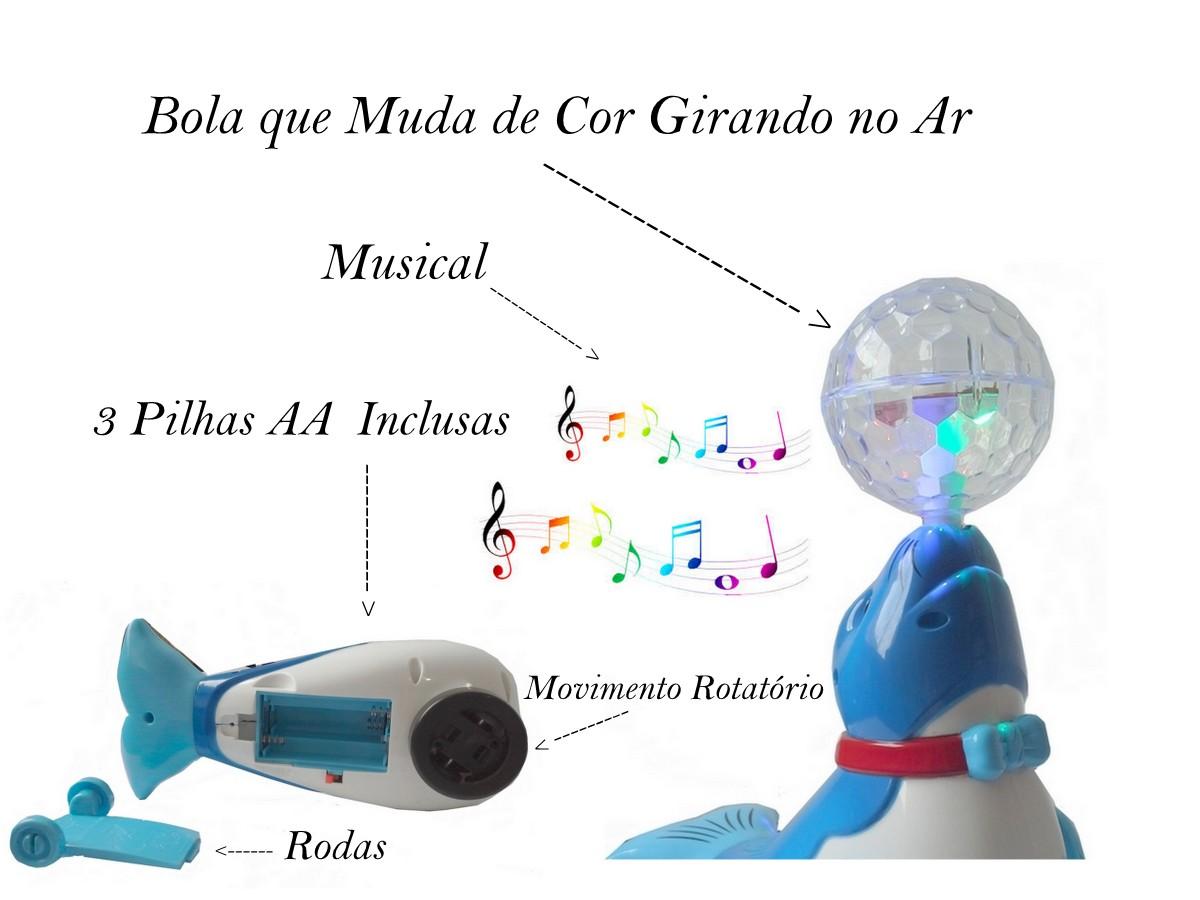 Brinquedo Infantil Foca Musical Com Bola Que Acende Luz Em Led