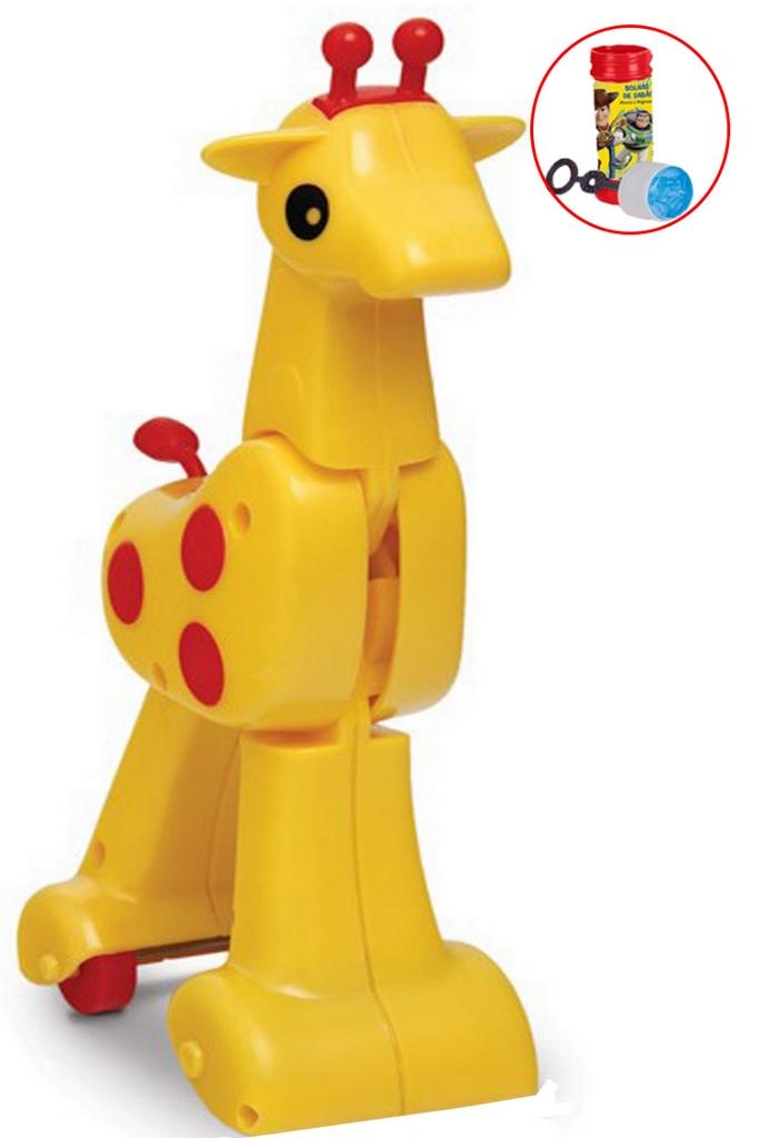 Brinquedo Infantil Gina Girafa Para Bebê Corre Corre Bolhas De Sabão Bichinho Rodinhas Diversão Original Elka