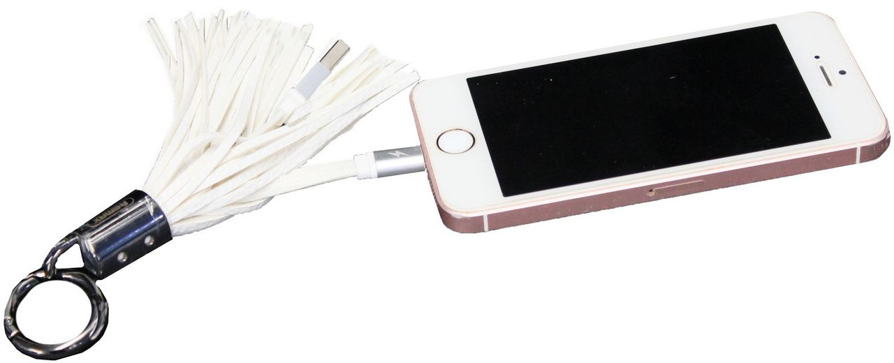 Cabo Usb Carregador Entrada Iphone Chaveiro Tassels Ring Branco 2.0 Franja Resistente Up4you