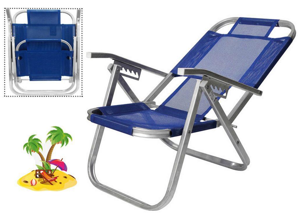 Cadeira De Praia Azul Royal Ipanema Reclinável 5 Posições Botafogo