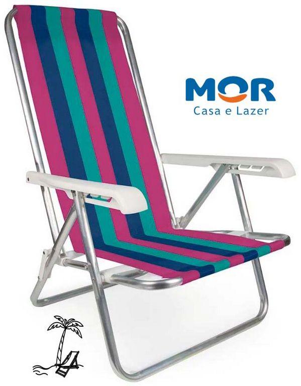 Cadeira De Praia Reclinável 4 Posições Alumínio Suporta Até 100 Kg Mor