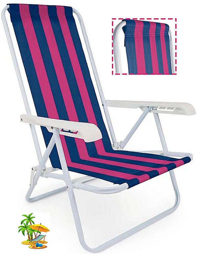 Cadeira De Praia Reclinável Aço Pintado Diversas Cores 4 Posições 100 Kg Mor