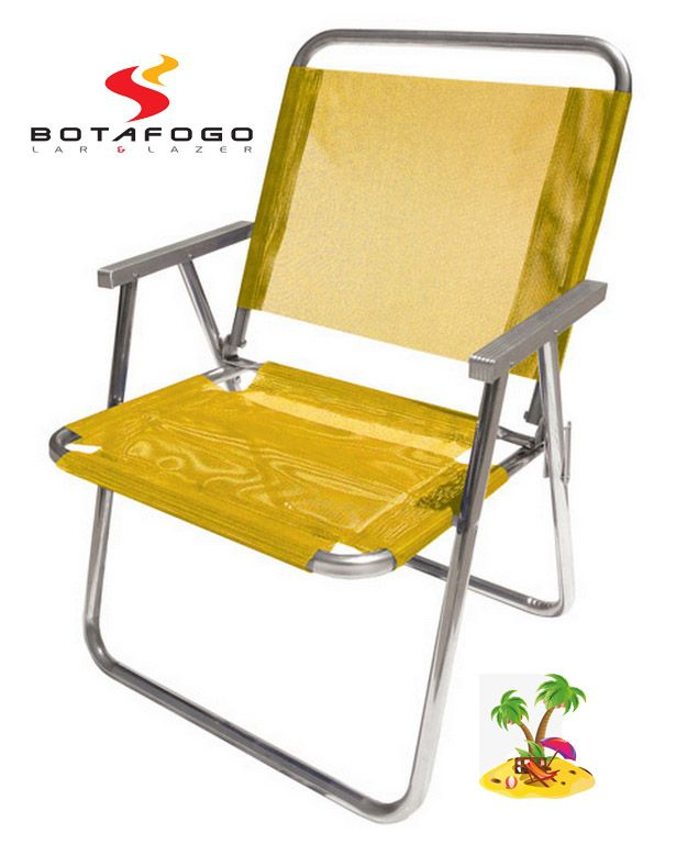 Cadeira De Praia Varanda Até 130Kg Amarela Botafogo
