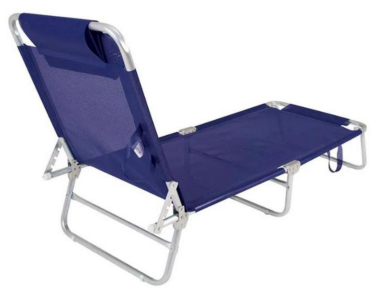Cadeira Espreguiçadeira Azul Alumínio Mor Suporta Até 100 Kg