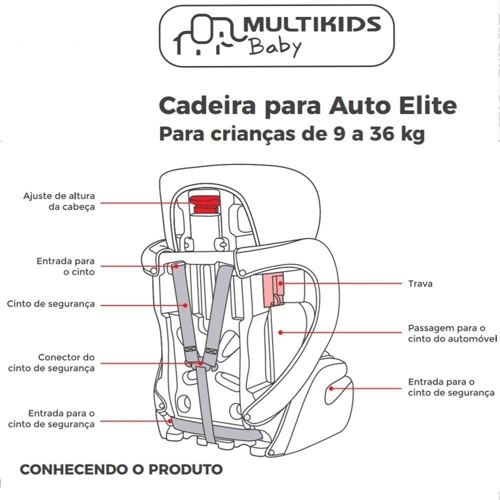 Cadeira para Auto Airbag Elite 9-36 Kg Preto Multikids Baby BB517 - Multilaser