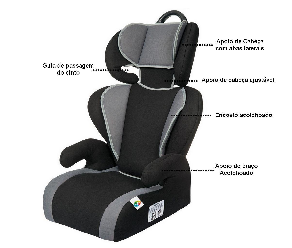 Cadeirinha De Carro Preto E Cinza Para Menino Menina Safety e Comfort Tutti Baby