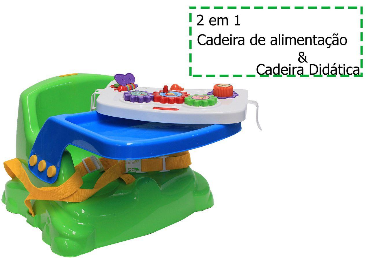 Cadeirinha Mesinha Didática Infantil Verde Educativa Cinto Mais Proteção Divertido Criança Original Poliplac