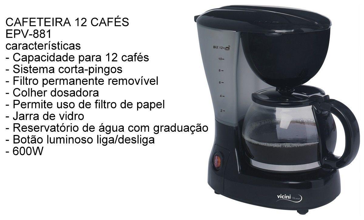 Cafeteira Jarra Elétrica 12 Xícaras Café Expresso Vicini - EPV - 881