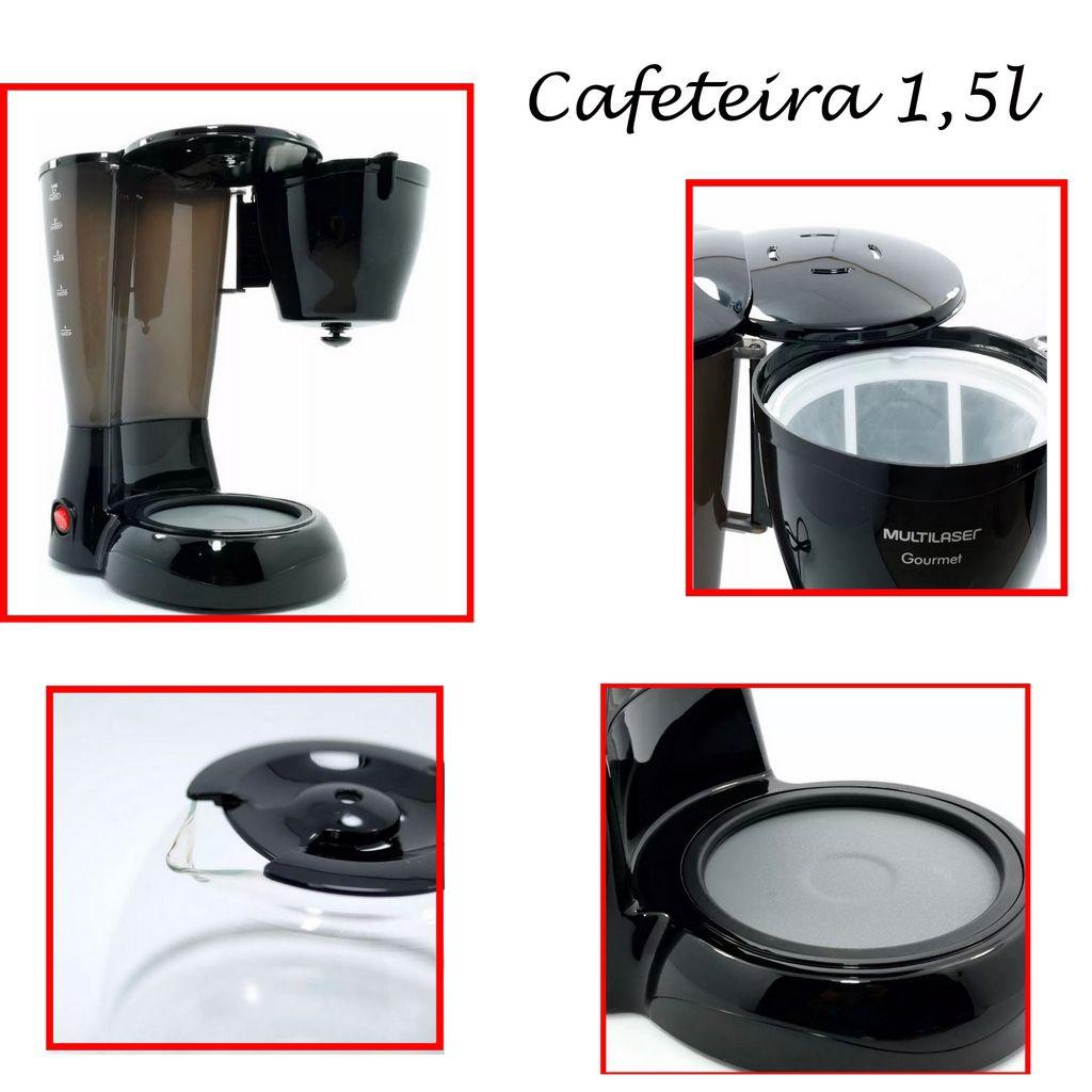 Cafeteira Elétrica Café Gourmet Preta 30 Xícaras Multilaser 110v