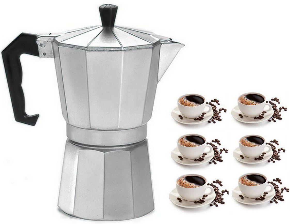 Cafeteira Moca Bule Italiana Alumínio 6 Xícaras Com  Válvula Segurança