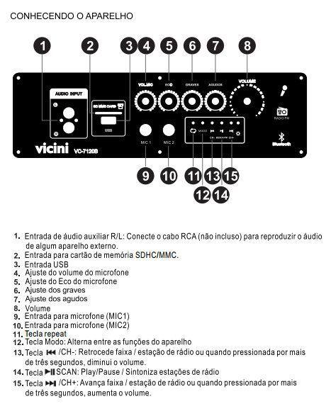 Caixa de Som Dupla Acústica Ativa Passiva Vicini Bluetooth Usb Microfone 120w Bivolt VC 7120B