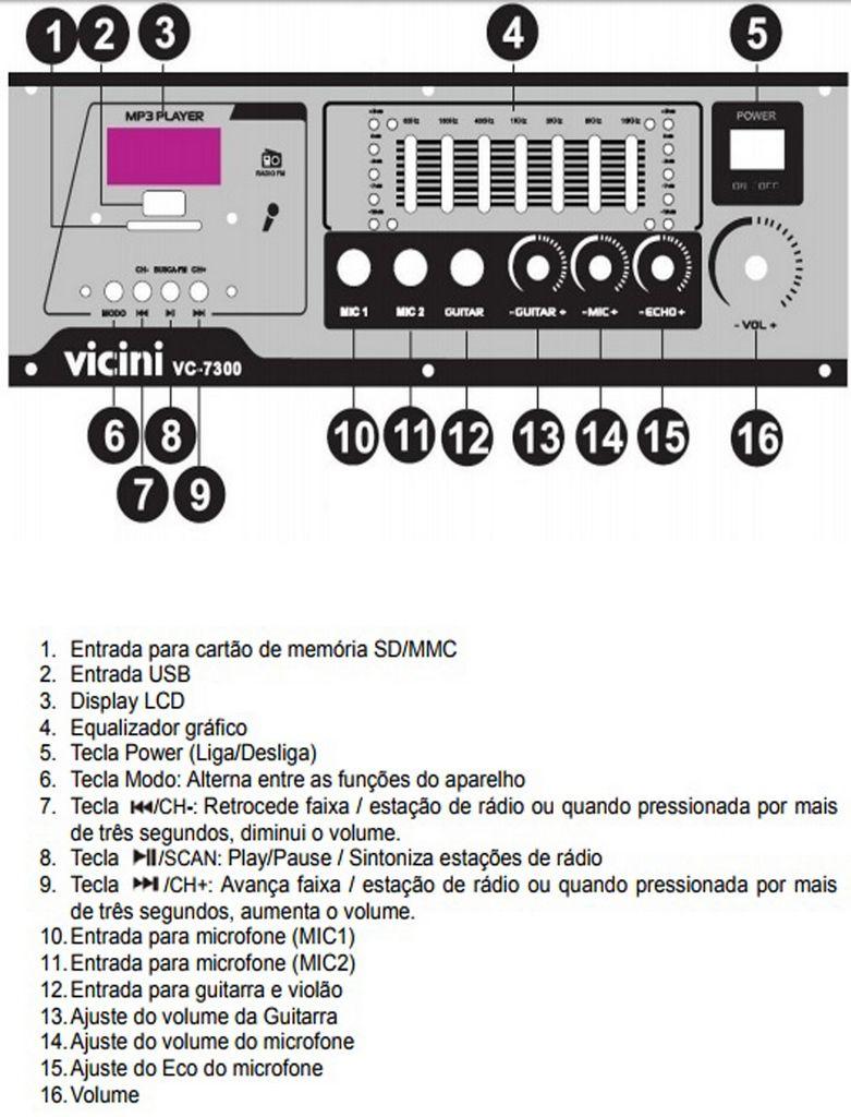 Caixa De Som Acustica Amplificadora Bluetooth 300 Watts Usb Aux Rádio Fm Kit Ativa Passiva Bivolt Display Led VC7300 Vicini