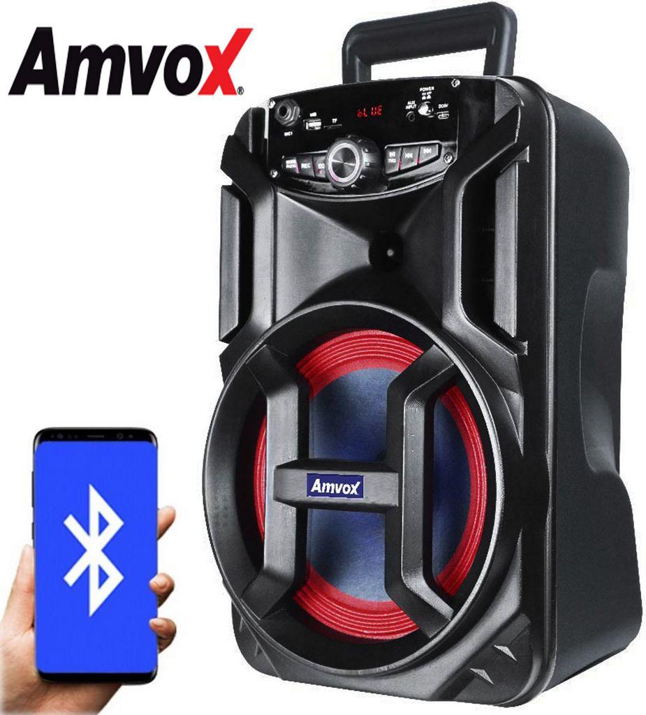 Caixa De Som Amplificada Bluetooth 130 Watts RMS Usb Rádio Fm Bateria Recarregável Aux Bivolt Função Gravar Leds Power New X Amvox
