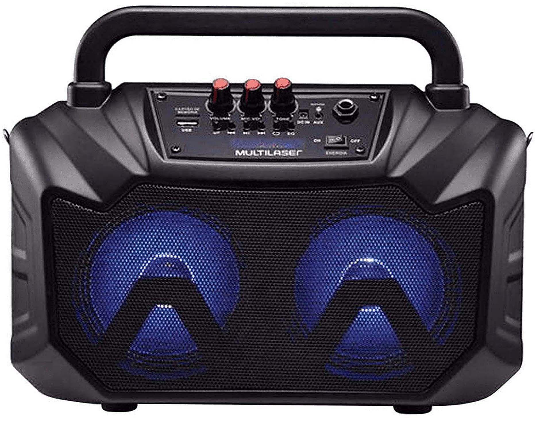Caixa De Som Amplificadora Portátil Bluetooth Usb Sd Rádio Fm Bateria Recarregável Auxiliar Display Led 80W RMS Alça Transporte Multilaser Original
