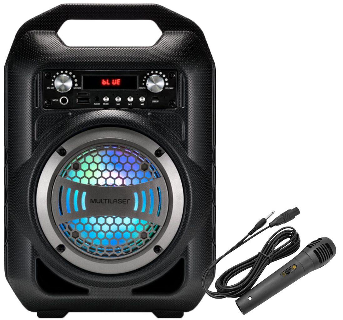 Caixa De Som Bluetooth Portátil Usb Cartão Sd Rádio Fm Com Microfone Karaokê Pequena Recarregável 50w Rms Aux 6 Em 1 Display Led Multilaser Original