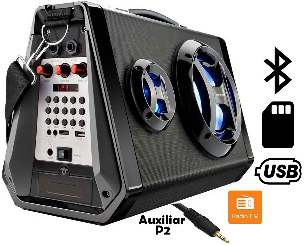 Caixa De Som Bluetooth Usb Portátil Bateria Recarregável Microfone Karaokê Alça Transversal Sd Rádio Fm Entrada P2 80W RMS Led Multilaser Original