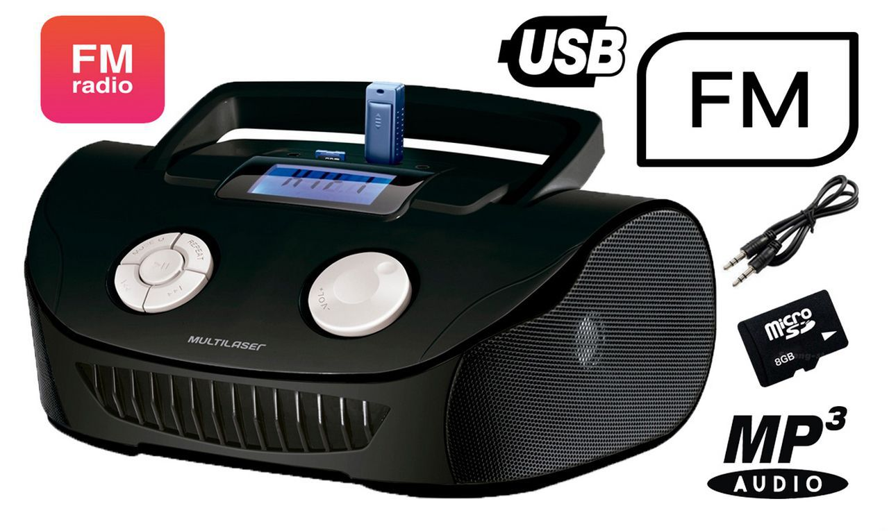 Rádio Caixa De Som Multifuncional Boombox 15W Usb P2 Fm Cartão Sd Preta