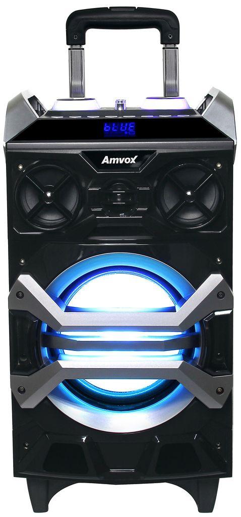 Caixa Som Amplificada Bluetooth Usb Sd Rádio Fm Rodinhas Alça Portátil Bivolt Microfone Original Amvox