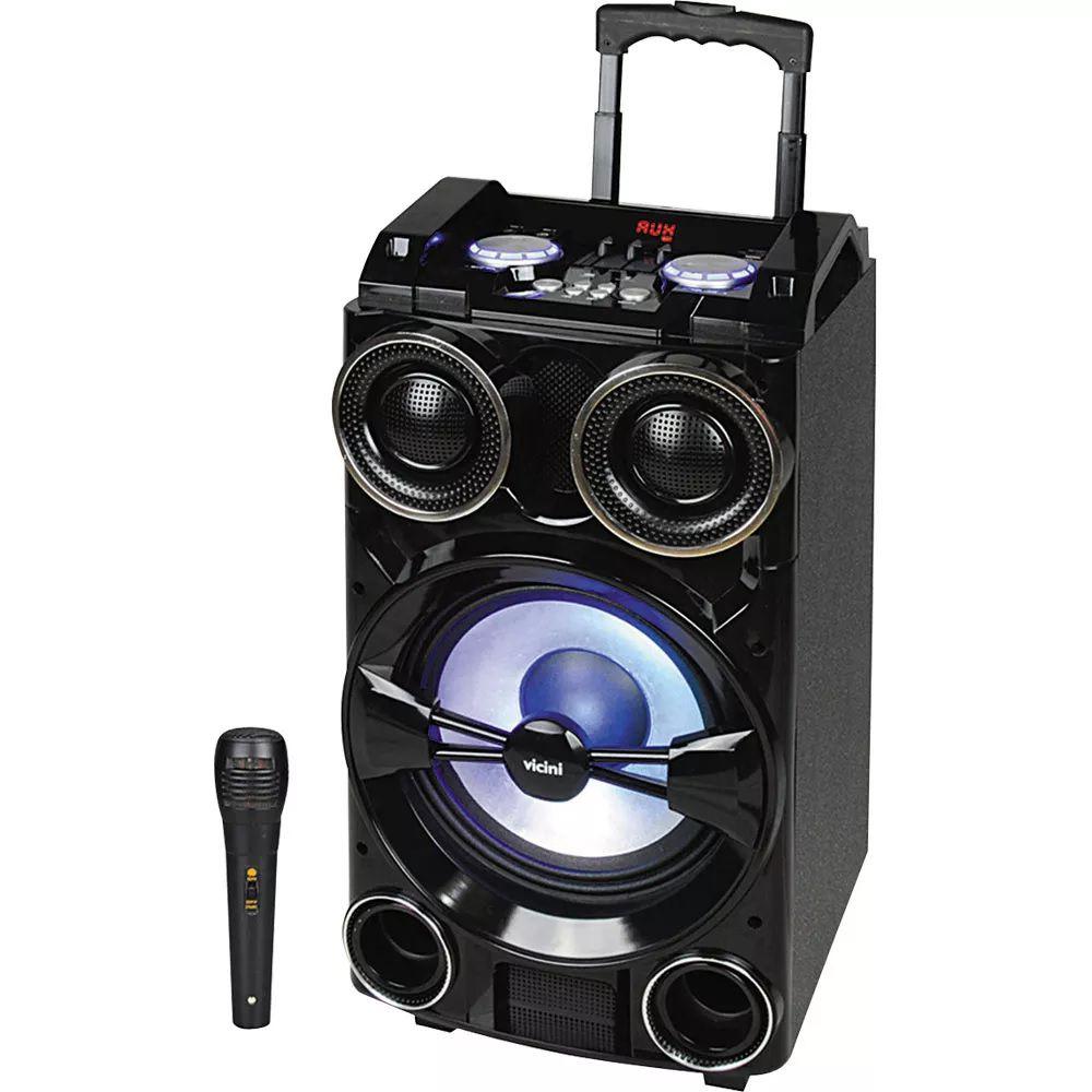 Caixa Som Bluetooth Karaoke 300w Portátil Roda + Microfone -VC-7301Vicini