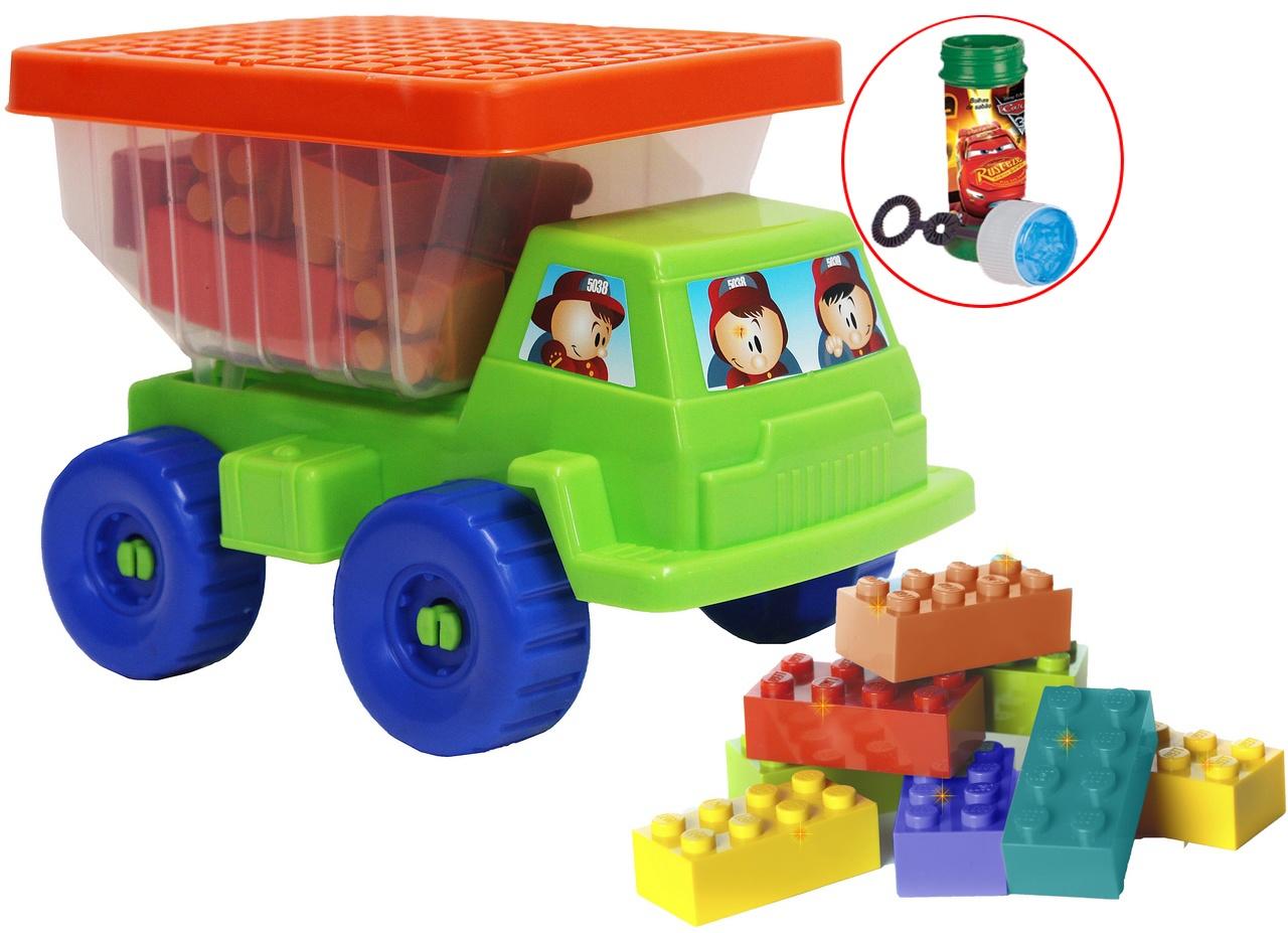 Caminhão Mini Basculhante Com Blocos Coloridos Infantil Bolhas De Sabão Praia Tampa Menino Menina Divertido Resistente Original Gulliver Activiy
