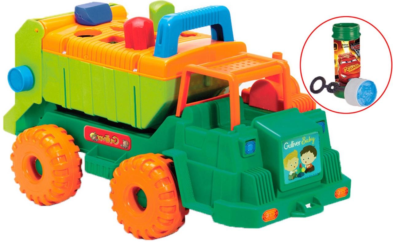 Caminhão Multi Formas Blocos De Encaixar Forminhas Coloridas Bolhas De Sabão Brinquedo Infantil Atividades Bebê Educativo Menino Gulliver Original