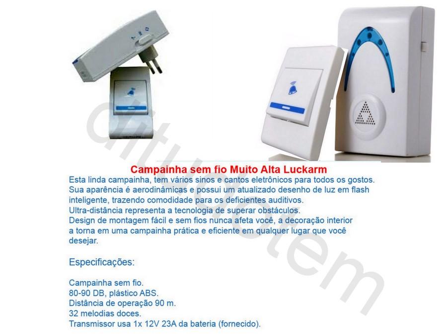 Campainha Sem Fio 36 Melodias - Som Alto - Wireless Luckarm